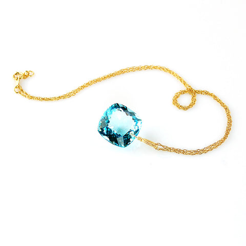 yellow gold cushion cut blue topaz necklace
