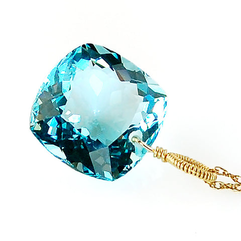 cushion cut blue topaz necklace