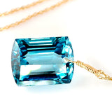 emerald cut blue topaz necklace