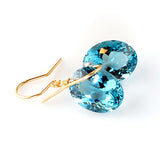 yellow gold oval cut blue topaz earrings