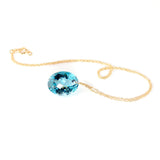 yellow gold oval cut blue topaz necklace