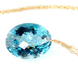 oval cut blue topaz necklace