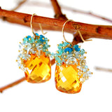 Citrine Earrings with Blue Topaz and Apatite Cluster in 14k Gold-fill