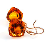 Citrine Cushion Cut Solitaire Earrings