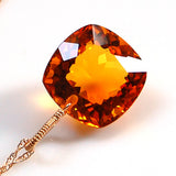 Citrine Cushion Cut Solitaire Necklace