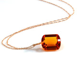 Citrine Emerald Cut Solitaire Necklace