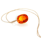 Citrine Oval Cut Solitaire Necklace