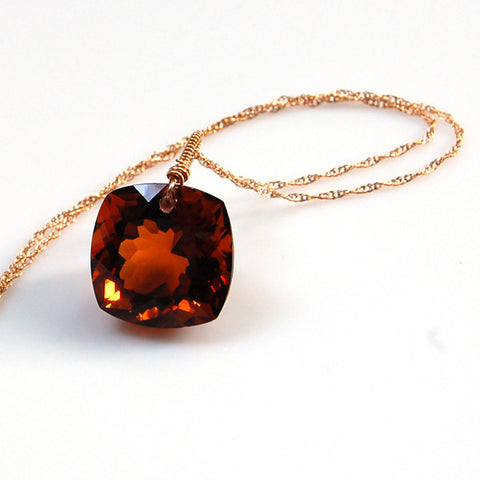 Cognac Quartz Cushion Cut Solitaire Necklace