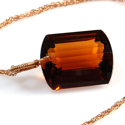 COGNAC QUARTZ EMERALD CUT SOLITAIRE NECKLACE