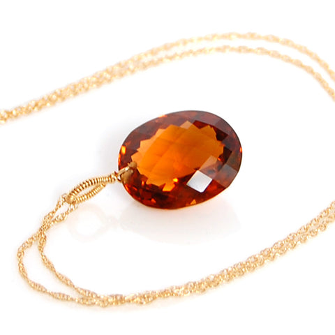 COGNAC QUARTZ OVAL CUT SOLITAIRE NECKLACE