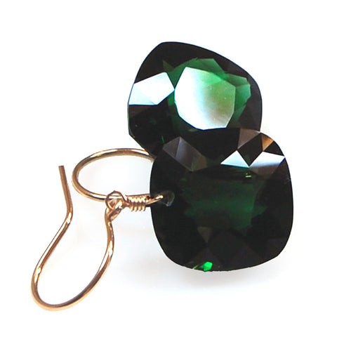 Dark Green Amethyst Cushion Cut Solitaire Earrings