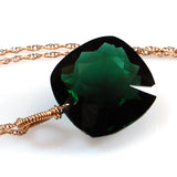Dark Green Amethyst Cushion Cut Solitaire Necklace
