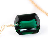Dark Green Amethyst Emerald Cut Solitaire Necklace