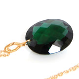 DARK GREEN AMETHYST OVAL CUT SOLITAIRE NECKLACE