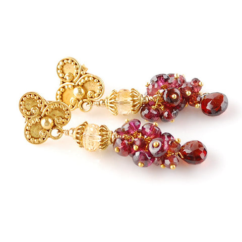 Garnet Earrings with Citrine