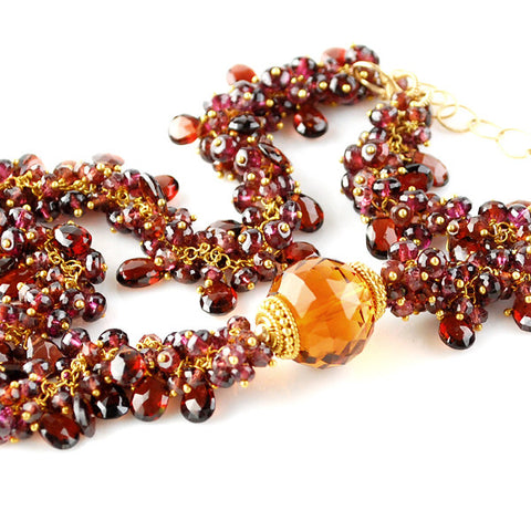 GARNET NECKLACE WITH CITRINE