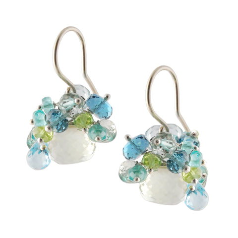 GREEN AMETHYST, BLUE TOPAZ, PERIDOT AND APATITE EARRINGS
