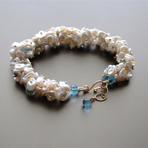 Keishi Pearl and Blue Topaz Bracelet