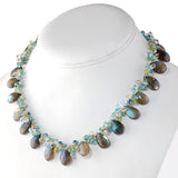 LABRADORITE NECKLACE WITH BLUE TOPAZ