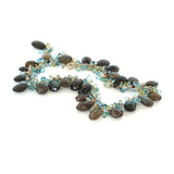 Labradorite Necklace with Blue Topaz, Green Amethyst, Peridot and Apatite in Fine and Argentium Silver