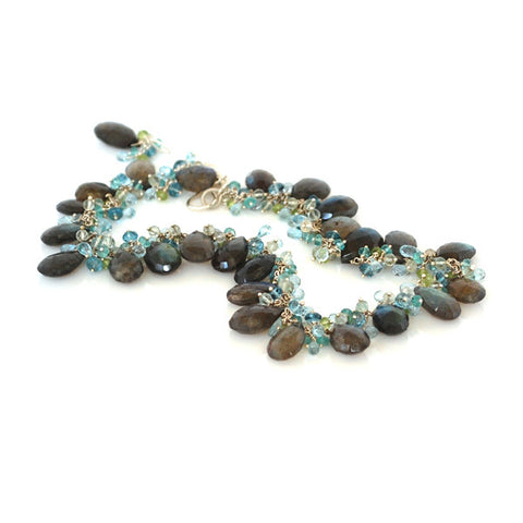 Electroformed Evergreen Necklace with Peridot and Blue Apatite Stones