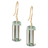 LIGHT GREEN AMETHYST BAGUETTE CUT SOLITAIRE EARRINGS