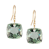 LIGHT GREEN AMETHYST CUSHION CUT SOLITAIRE EARRINGS