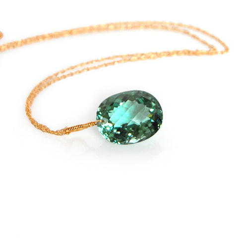 Light Green Amethyst Oval Cut Solitaire Necklace