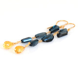 LONDON BLUE TOPAZ EARRINGS WITH CITRINE