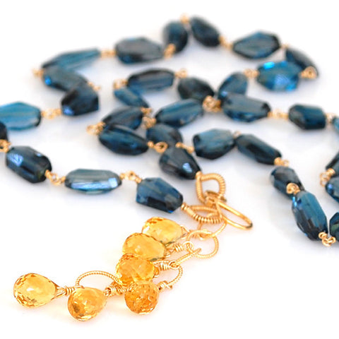 London Blue Topaz and Citrine Necklace