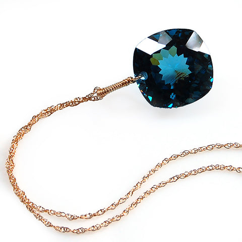 yellow gold cushion cut London blue topaz necklace