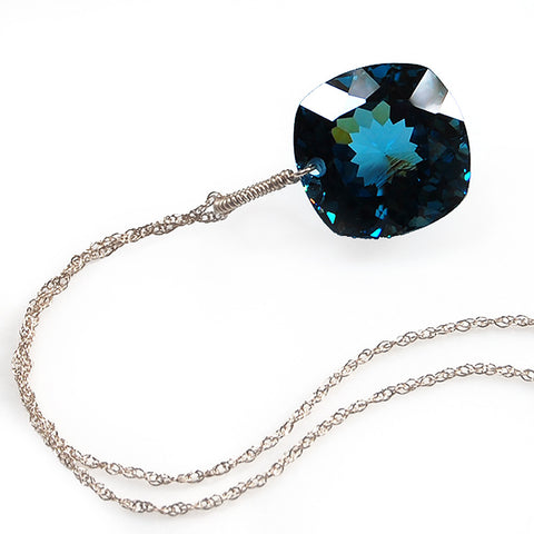 white gold cushion cut London blue topaz necklace