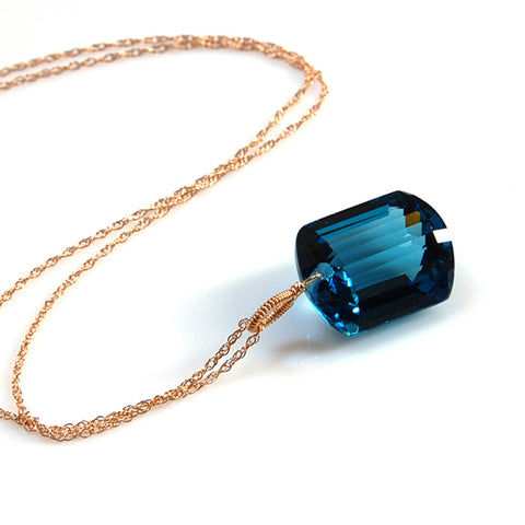 yellow gold emerald cut London blue topaz necklace