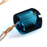 emerald cut London blue topaz necklace