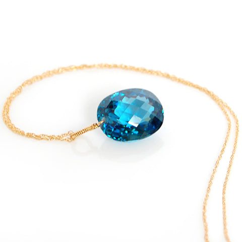 yellow gold oval cut London blue topaz necklace