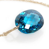 white gold oval cut London blue topaz necklace