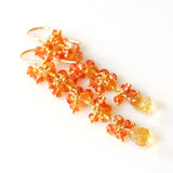 Orange Padparadscha Sapphire and Citrine Earrings