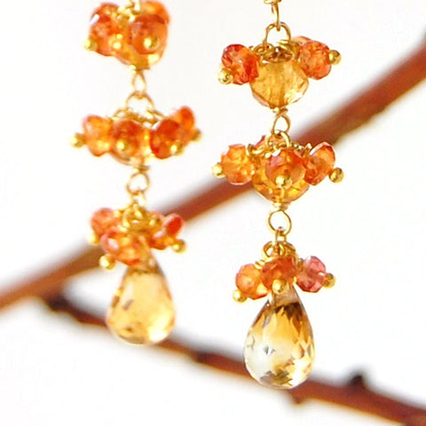 orange sapphire earrings with citrine holton designs