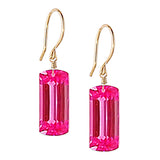Pink Topaz Baguette Cut Solitaire Earrings