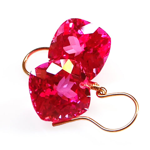 Pink Topaz Cushion Cut Solitaire Earrings