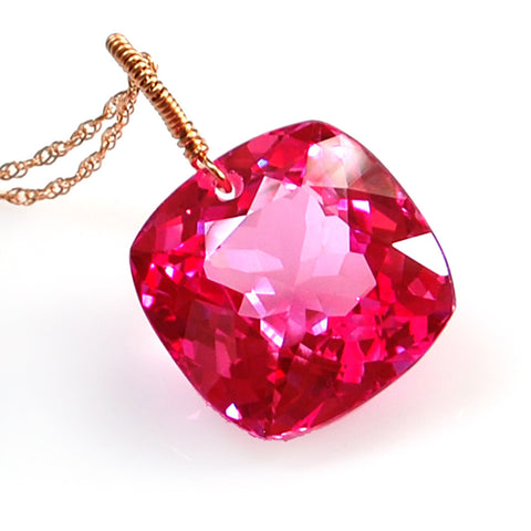 Pink Topaz Cushion Cut Solitaire Necklace