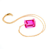 PINK TOPAZ EMERALD CUT SOLITAIRE NECKLACE