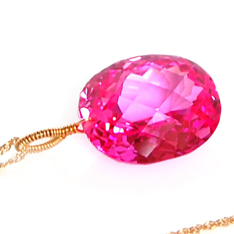 PINK TOPAZ OVAL CUT SOLITAIRE NECKLACE