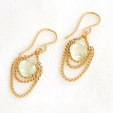Prehnite and 14 Karat Gold-Filled Curb Chain Earrings