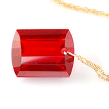 RED TOPAZ EMERALD CUT SOLITAIRE NECKLACE