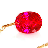 Red Topaz Oval Cut Solitaire Necklace
