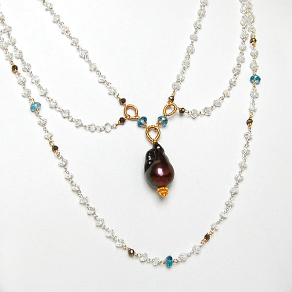 Blue Topaz And Pearl Necklace: WHITE TOPAZ, LONDON BLUE TOPAZ AND BLACK PEARL NECKLACE