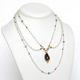 White Topaz, London Blue Topaz and Baroque Pearl Victorian Necklace