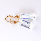 WHITE TOPAZ BAGUETTE CUT SOLITAIRE EARRINGS