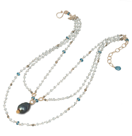 White Topaz, London Blue Topaz, Pyrite and Black Pearl Necklace